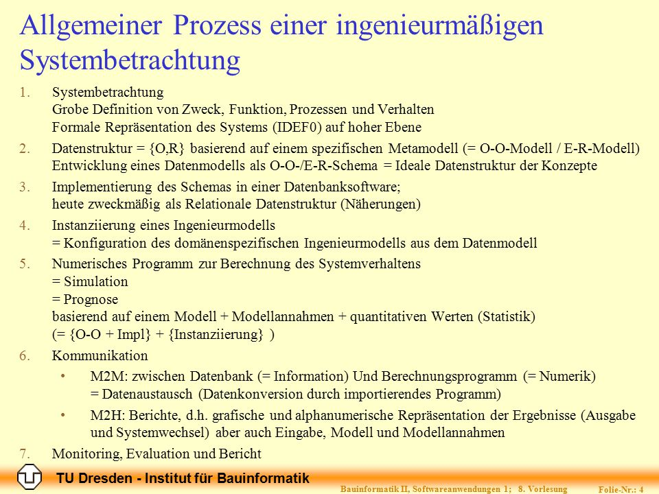 TU Dresden - Institut für Bauinformatik Folie-Nr.: 4 Bauinformatik II, Softwareanwendungen 1; 8. Vorlesung Allgemeiner Prozess einer ingenieurmäßigen