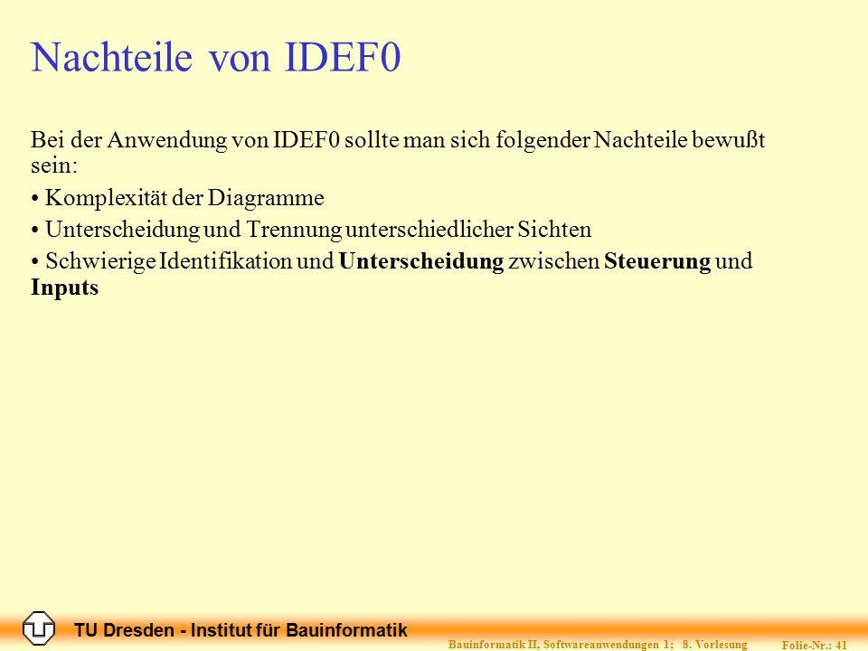 TU Dresden - Institut für Bauinformatik Folie-Nr.: 41 Bauinformatik II, Softwareanwendungen 1; 8. Vorlesung Nachteile von IDEF0 Bei der Anwendung von