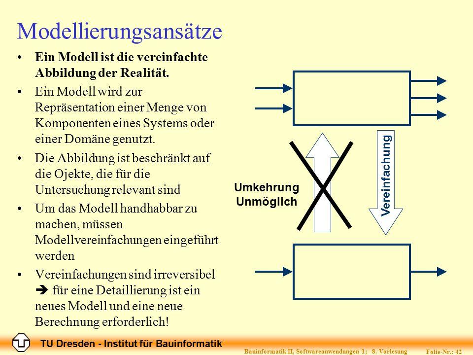 TU Dresden - Institut für Bauinformatik Folie-Nr.: 42 Bauinformatik II, Softwareanwendungen 1; 8. Vorlesung Modellierungsansätze Ein Modell ist die ve