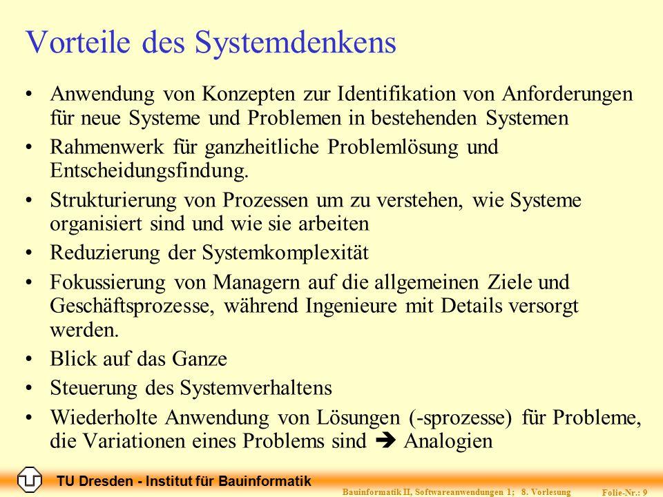 TU Dresden - Institut für Bauinformatik Folie-Nr.: 9 Bauinformatik II, Softwareanwendungen 1; 8. Vorlesung Vorteile des Systemdenkens Anwendung von Ko