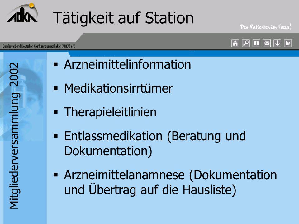 Mitgliederversammlung 2002 Tätigkeit auf Station  Arzneimittelinformation  Medikationsirrtümer  Therapieleitlinien  Entlassmedikation (Beratung un