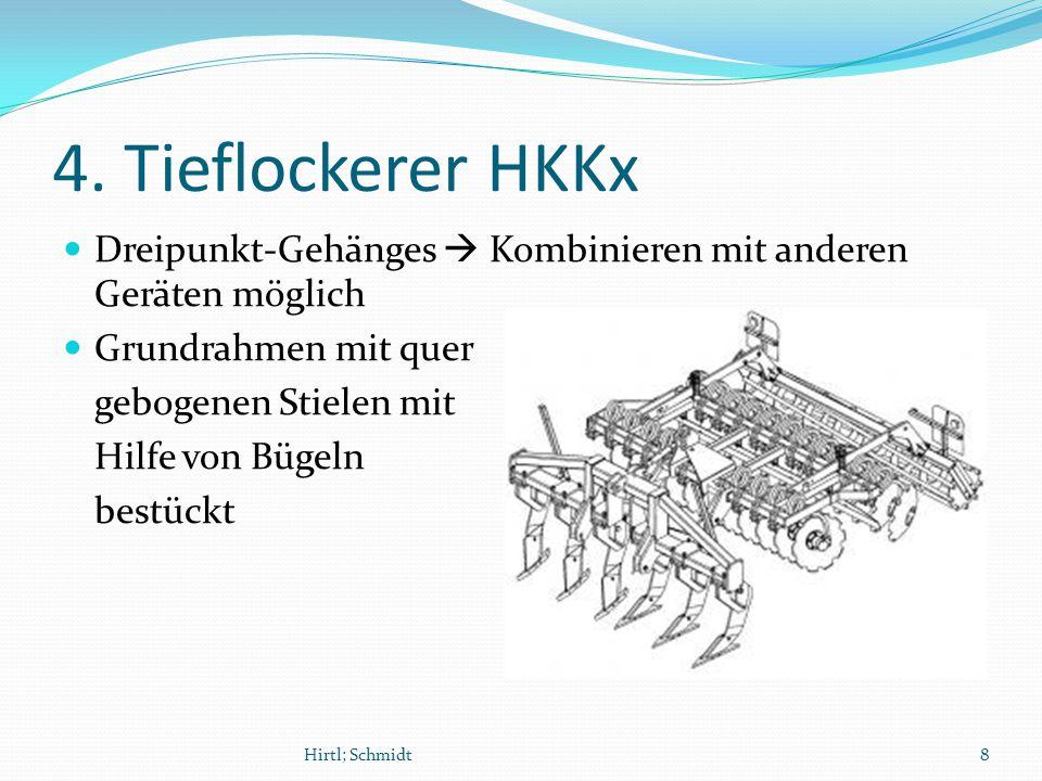 4. Tieflockerer HKKx Dreipunkt-Gehänges  Kombinieren mit anderen Geräten möglich Grundrahmen mit quer gebogenen Stielen mit Hilfe von Bügeln bestückt