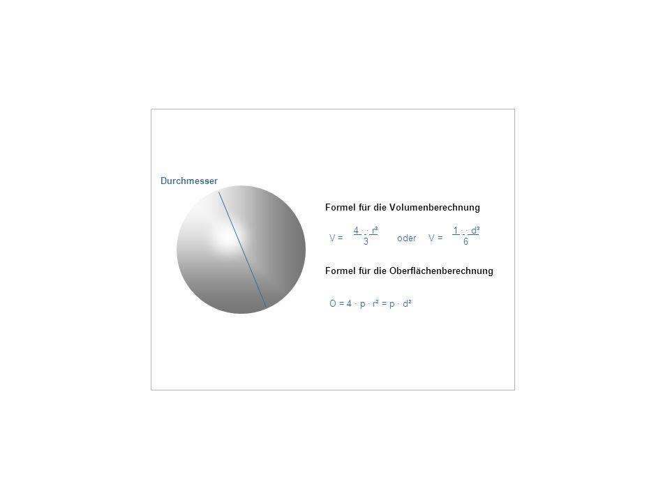 Formel für die Volumenberechnung V = oder V = 4 · · r³ 3 1 · · d³ 6 Formel für die Oberflächenberechnung O = 4 · p · r² = p · d² Durchmesser