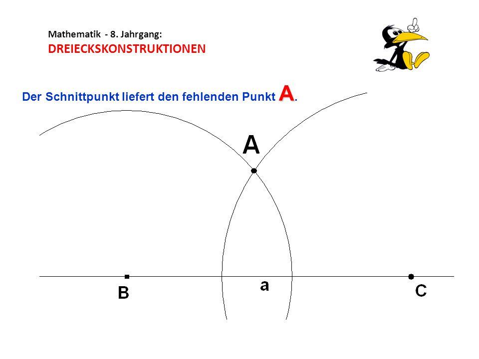 Mathematik - 8.Jahrgang: DREIECKSKONSTRUKTIONEN Das Dreieck ist fertig.
