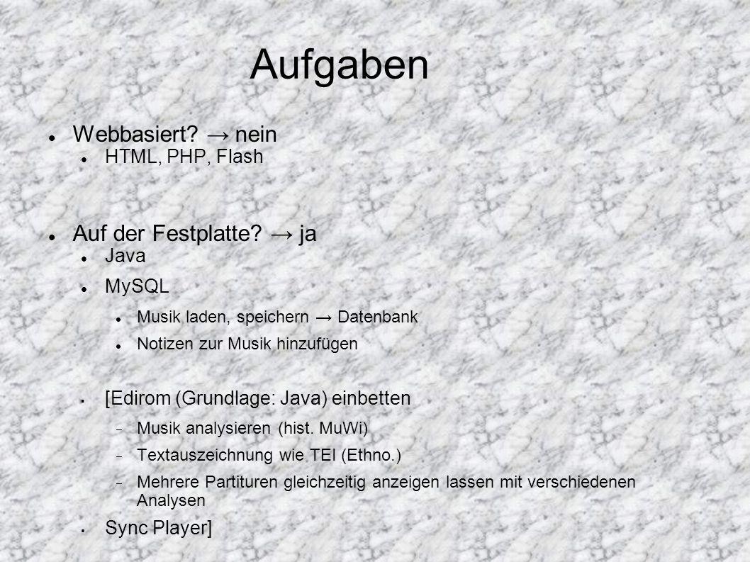 Aufgabenverteilung Pham: Java Alle Informationen/Metadaten zur Musik Titel, Dauer, Notizen, Entstehungsjahr, Darstellung...