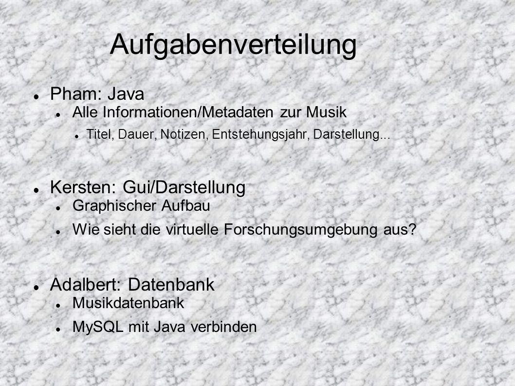 Aufgabenverteilung Pham: Java Alle Informationen/Metadaten zur Musik Titel, Dauer, Notizen, Entstehungsjahr, Darstellung... Kersten: Gui/Darstellung G