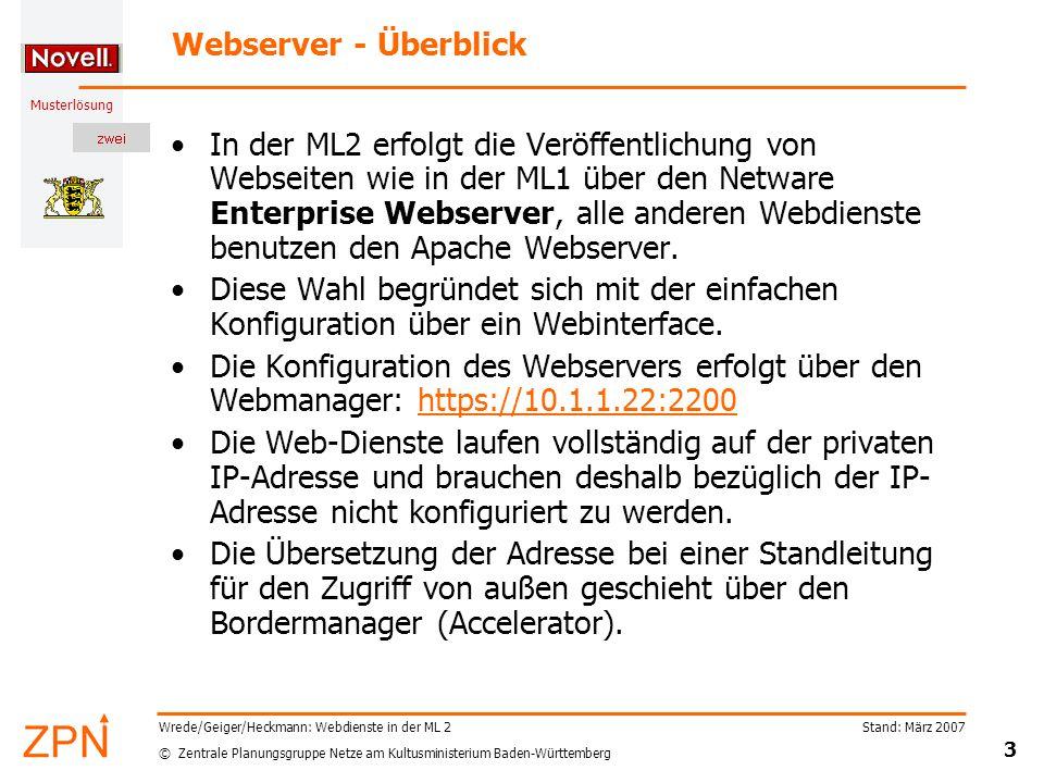 © Zentrale Planungsgruppe Netze am Kultusministerium Baden-Württemberg Musterlösung Stand: März 2007 3 Wrede/Geiger/Heckmann: Webdienste in der ML 2 W
