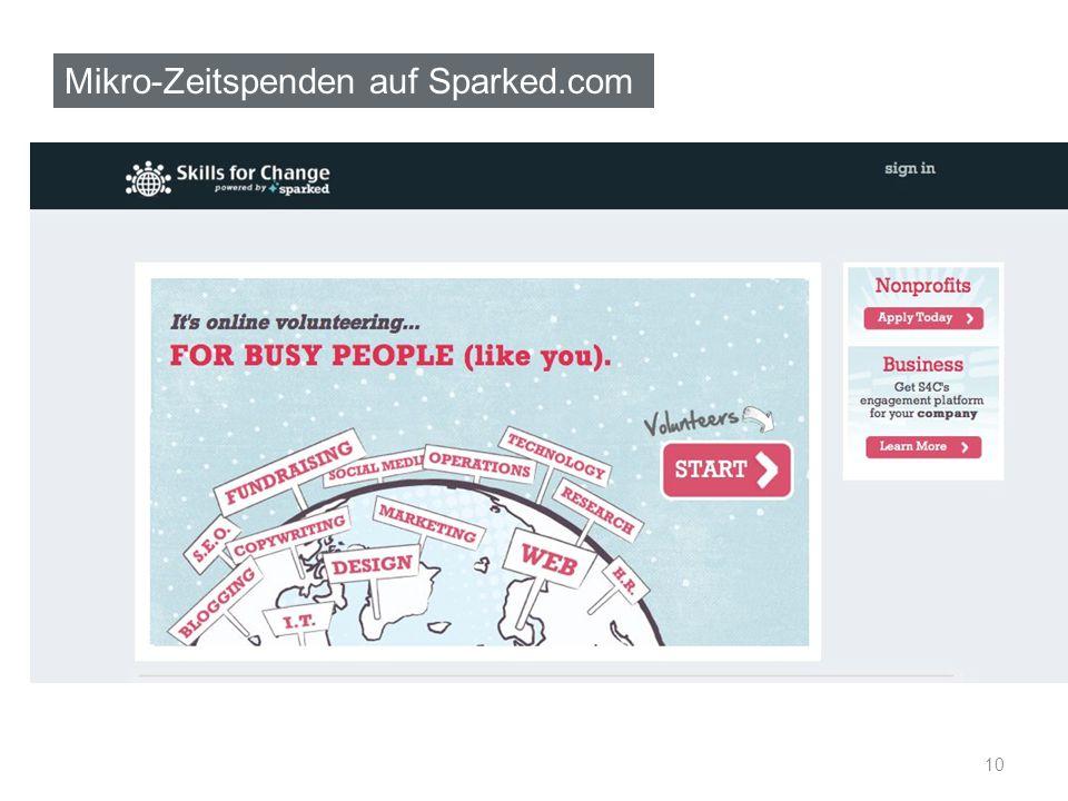 Mikro-Zeitspenden auf Sparked.com 10