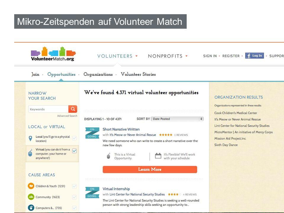 Mikro-Zeitspenden auf Volunteer Match 12