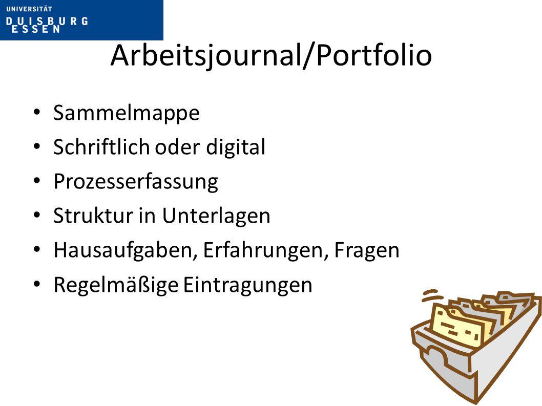 Arbeitsjournal/Portfolio Sammelmappe Schriftlich oder digital Prozesserfassung Struktur in Unterlagen Hausaufgaben, Erfahrungen, Fragen Regelmäßige Ei