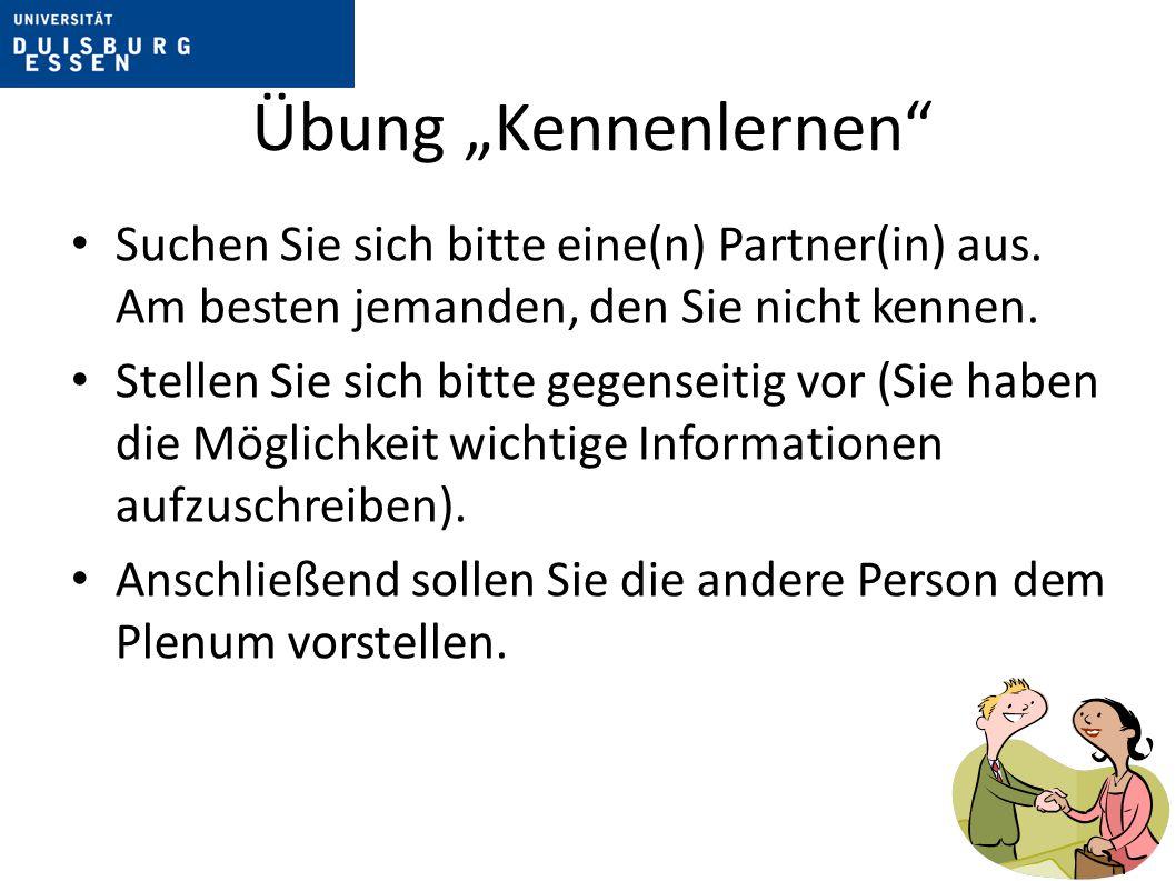 """Übung """"Kennenlernen Leitfragen (keine Pflicht, erlaubt sind auch weitere Informationen): Wie ist dein Name."""