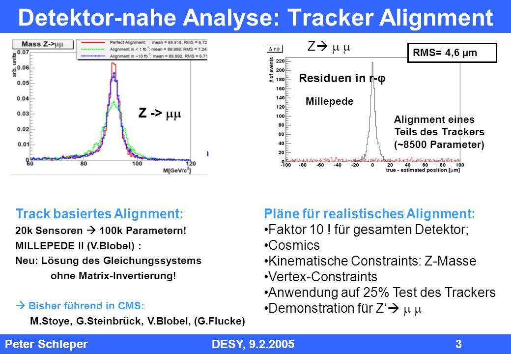 Peter Schleper DESY, 9.2.2005 4 Analyse- Strategie Tracker: Verständnis Detektoren durch Cosmics Schwerpunkt Tracker-Alignment ausbauen, zunächst im Barrel Analyse der ersten Cosmics (25% und voller Detektor) Analyse der ersten pp Kollisionen: underlying events, Jet Raten Fehlende Expertise: Trigger, Kalorimeter, Myon-tagging (Ac), Vertex-tagging (Ka) Kalorimeter, Myon System: Expertise im Tracking nutzen um mit ersten Daten andere Komponenten zu verstehen Effizienzen Kalorimeter, Myon System Verifikation der Kalibration der Kalorimeter, pile up Supersymmetrie: Lepton Signaturen; falls möglich: Vergleich tau – mu – e Rate ET Signatur PTmiss Signaturen Iterationen: erste Signaturen  Theorie: weitere Vorhersagen  spezifische Suchen