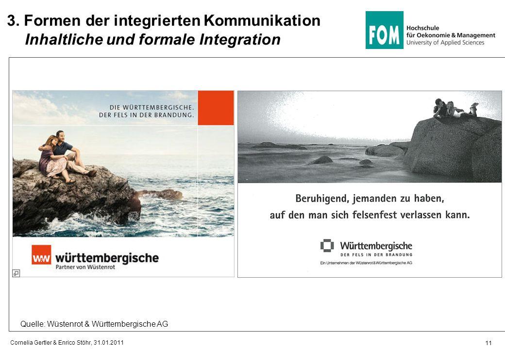 11 3. Formen der integrierten Kommunikation Inhaltliche und formale Integration Quelle: Wüstenrot & Württembergische AG Cornelia Gertler & Enrico Stöh