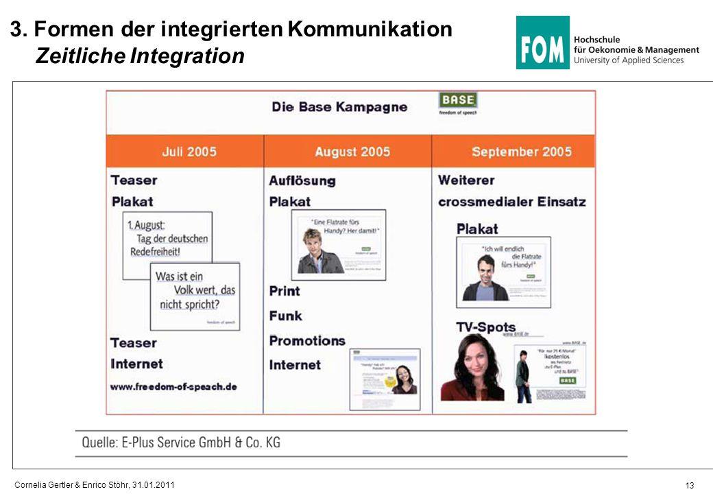 13 3. Formen der integrierten Kommunikation Zeitliche Integration Cornelia Gertler & Enrico Stöhr, 31.01.2011
