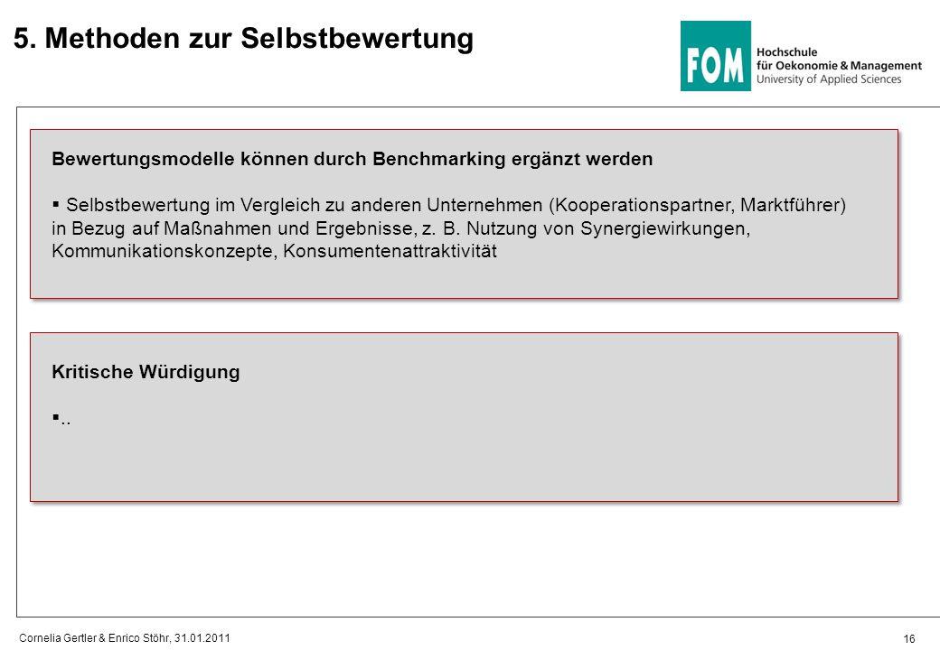 5. Methoden zur Selbstbewertung 16 Cornelia Gertler & Enrico Stöhr, 31.01.2011 Bewertungsmodelle können durch Benchmarking ergänzt werden  Selbstbewe