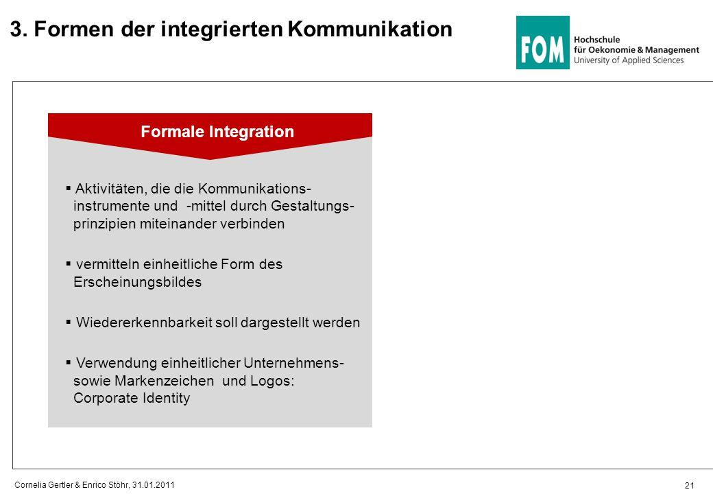21 Cornelia Gertler & Enrico Stöhr, 31.01.2011 Formale Integration  Aktivitäten, die die Kommunikations- instrumente und -mittel durch Gestaltungs- p