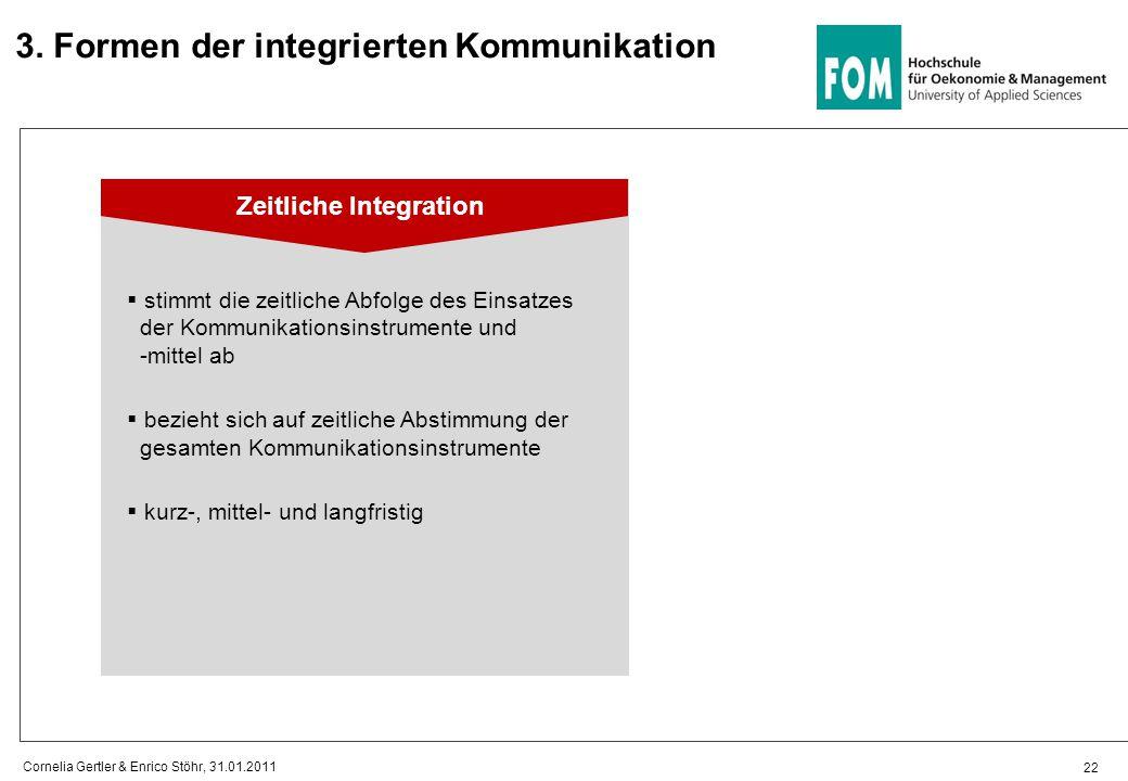 22 Cornelia Gertler & Enrico Stöhr, 31.01.2011 3. Formen der integrierten Kommunikation Zeitliche Integration  stimmt die zeitliche Abfolge des Einsa