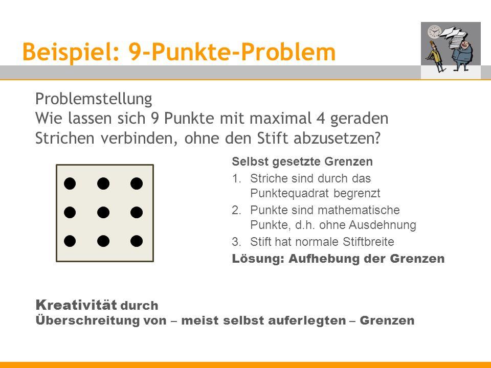 Beispiel: 9-Punkte-Problem Problemstellung Wie lassen sich 9 Punkte mit maximal 4 geraden Strichen verbinden, ohne den Stift abzusetzen.