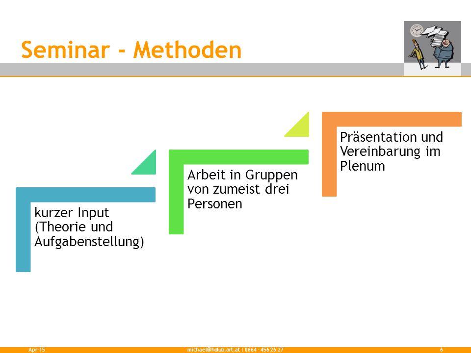 Seminar - Methoden kurzer Input (Theorie und Aufgabenstellung) Arbeit in Gruppen von zumeist drei Personen Präsentation und Vereinbarung im Plenum Apr