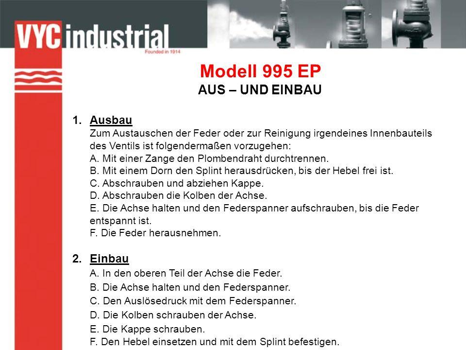 Modell 995 EP AUS – UND EINBAU 1.Ausbau Zum Austauschen der Feder oder zur Reinigung irgendeines Innenbauteils des Ventils ist folgendermaßen vorzugehen: A.