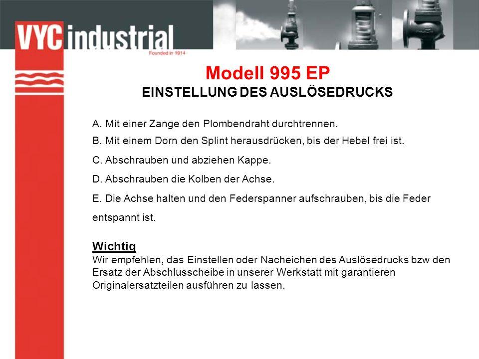 Modell 995 EP EINSTELLUNG DES AUSLÖSEDRUCKS A. Mit einer Zange den Plombendraht durchtrennen.