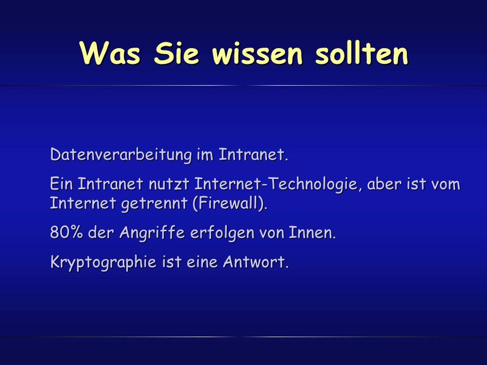 Was Sie wissen sollten Datenverarbeitung im Intranet. Ein Intranet nutzt Internet-Technologie, aber ist vom Internet getrennt (Firewall). 80% der Angr