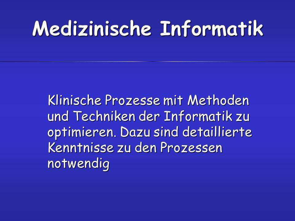 Klinische Prozesse mit Methoden und Techniken der Informatik zu optimieren. Dazu sind detaillierte Kenntnisse zu den Prozessen notwendig Medizinische