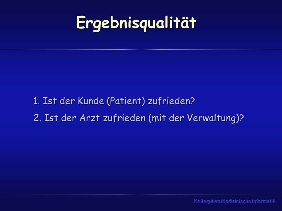 Ergebnisqualität 1. Ist der Kunde (Patient) zufrieden? 2. Ist der Arzt zufrieden (mit der Verwaltung)?