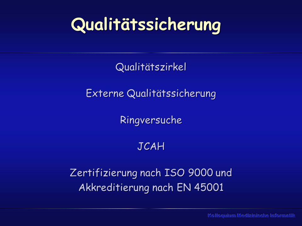 Qualitätssicherung Qualitätszirkel Externe Qualitätssicherung RingversucheJCAH Zertifizierung nach ISO 9000 und Akkreditierung nach EN 45001