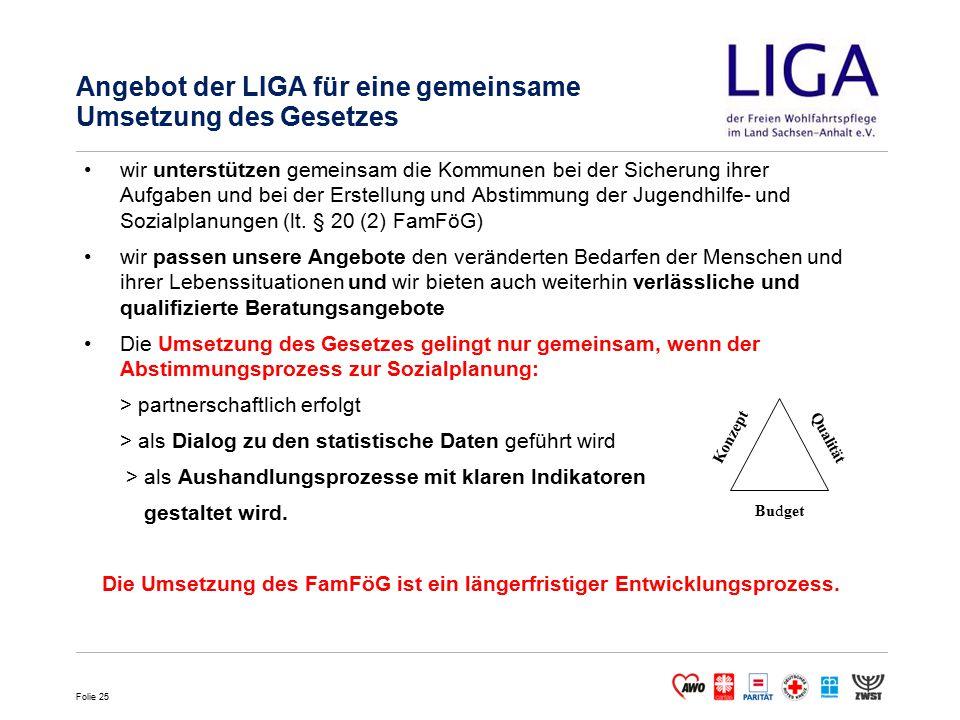 Folie 25 Angebot der LIGA für eine gemeinsame Umsetzung des Gesetzes wir unterstützen gemeinsam die Kommunen bei der Sicherung ihrer Aufgaben und bei der Erstellung und Abstimmung der Jugendhilfe- und Sozialplanungen (lt.