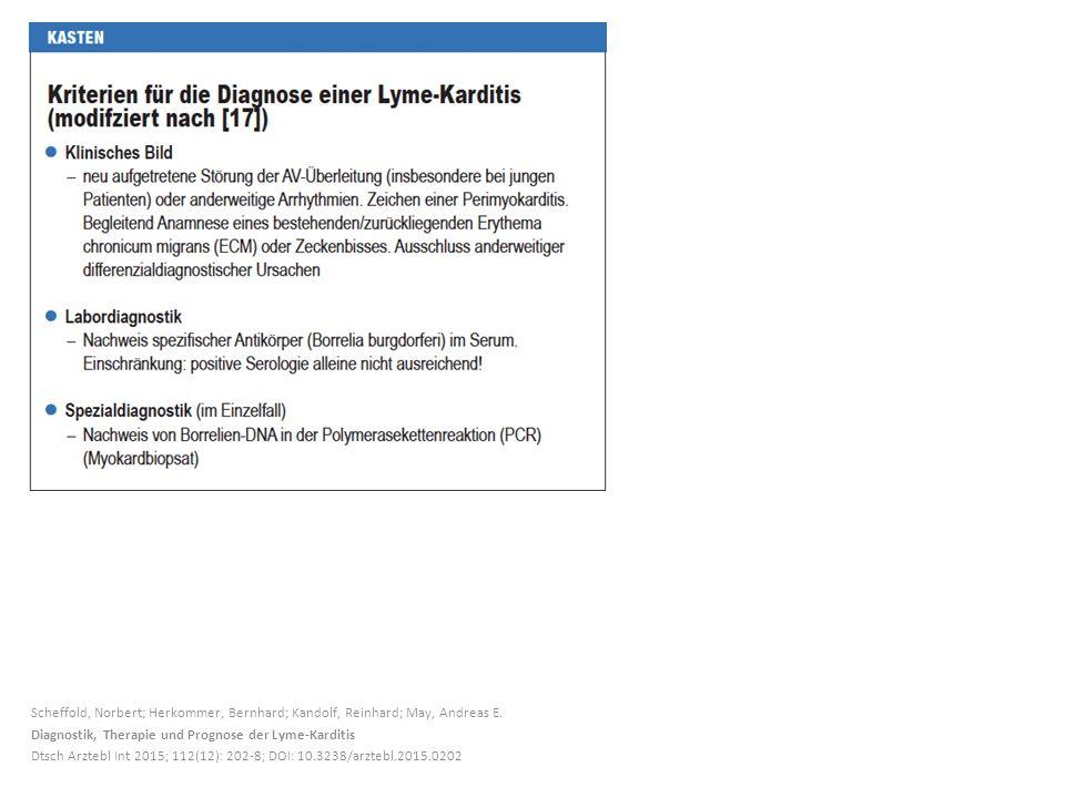 Scheffold, Norbert; Herkommer, Bernhard; Kandolf, Reinhard; May, Andreas E. Diagnostik, Therapie und Prognose der Lyme-Karditis Dtsch Arztebl Int 2015