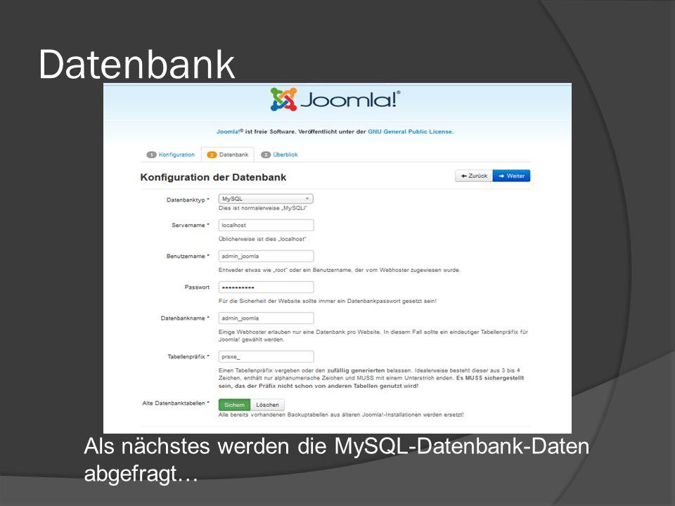 Datenbank Als nächstes werden die MySQL-Datenbank-Daten abgefragt…