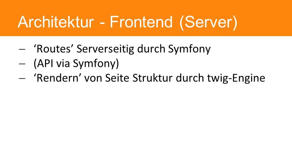 Architektur - Frontend (Server)  'Routes' Serverseitig durch Symfony  (API via Symfony)  'Rendern' von Seite Struktur durch twig-Engine