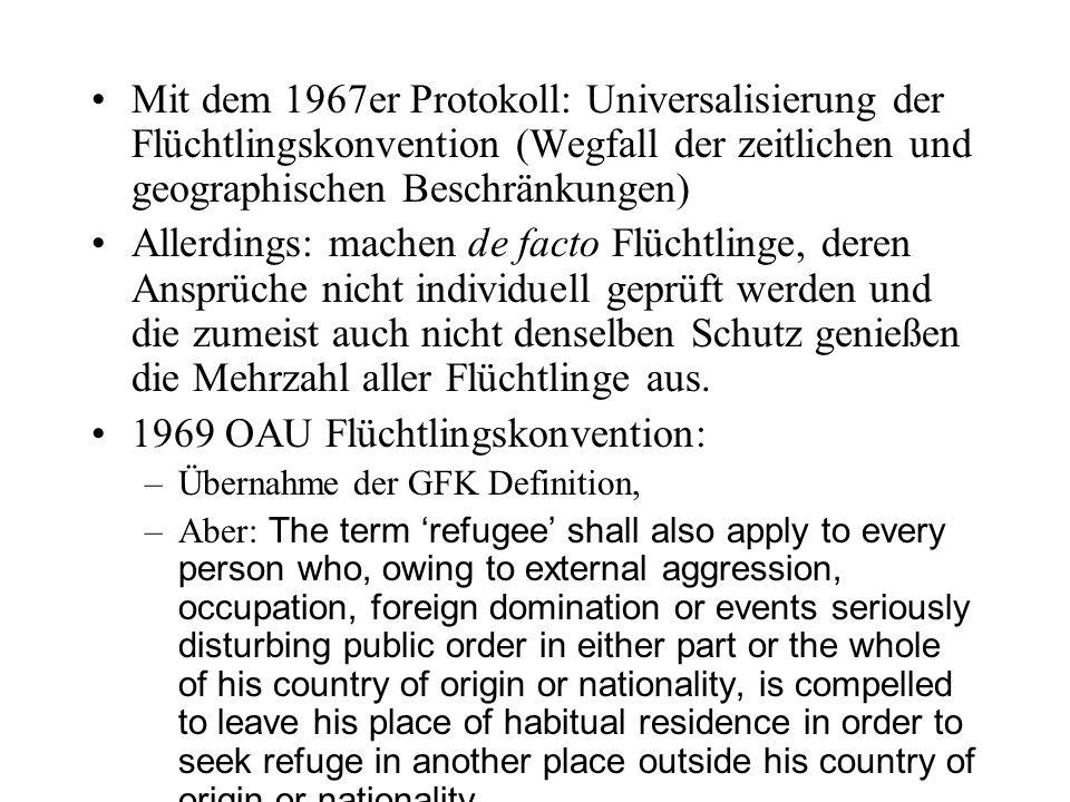 Mit dem 1967er Protokoll: Universalisierung der Flüchtlingskonvention (Wegfall der zeitlichen und geographischen Beschränkungen) Allerdings: machen de facto Flüchtlinge, deren Ansprüche nicht individuell geprüft werden und die zumeist auch nicht denselben Schutz genießen die Mehrzahl aller Flüchtlinge aus.