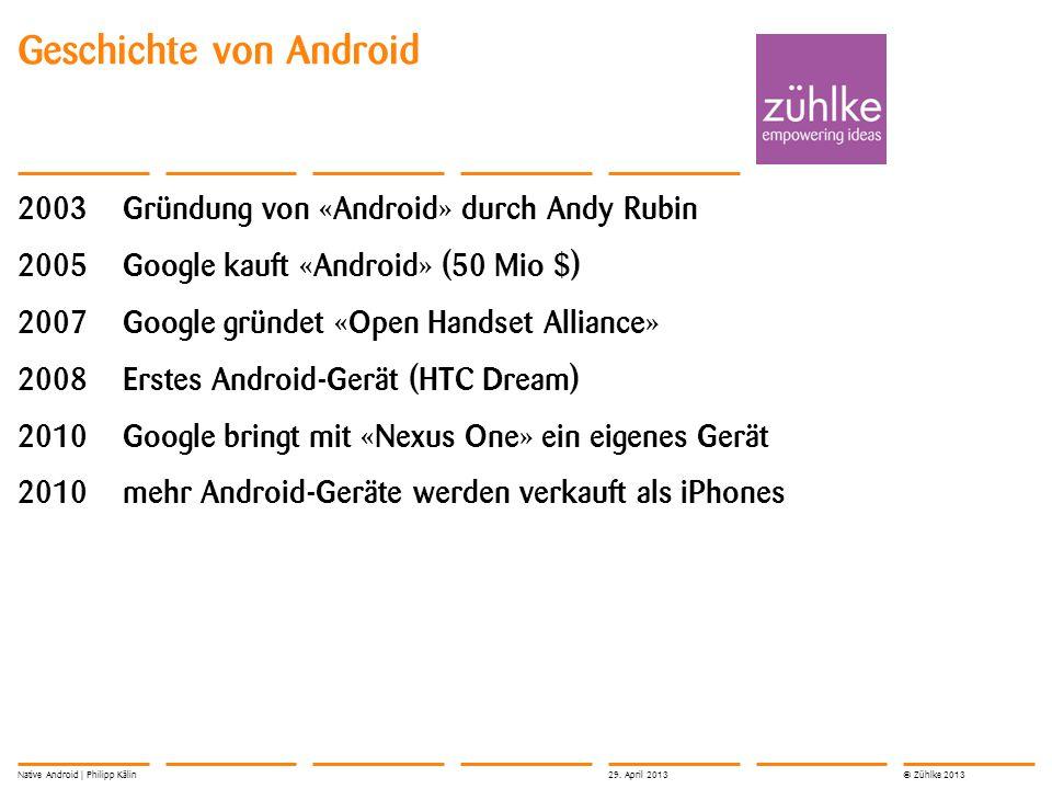 © Zühlke 2013 Geschichte von Android 2003Gründung von «Android» durch Andy Rubin 2005Google kauft «Android» (50 Mio $) 2007Google gründet «Open Handse