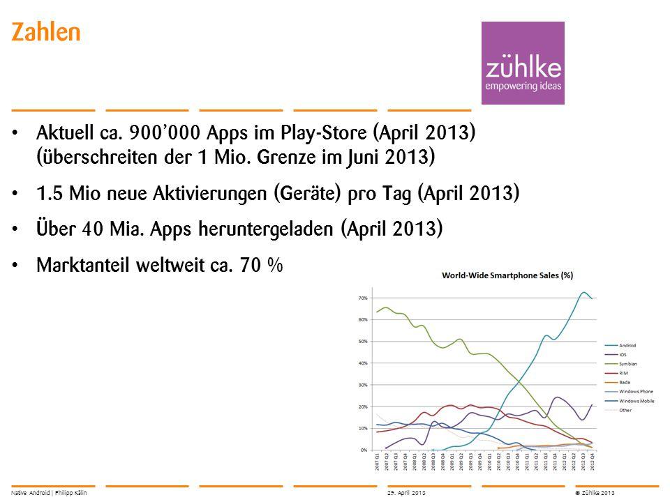 © Zühlke 2013 Aktuell ca. 900'000 Apps im Play-Store (April 2013) (überschreiten der 1 Mio. Grenze im Juni 2013) 1.5 Mio neue Aktivierungen (Geräte) p