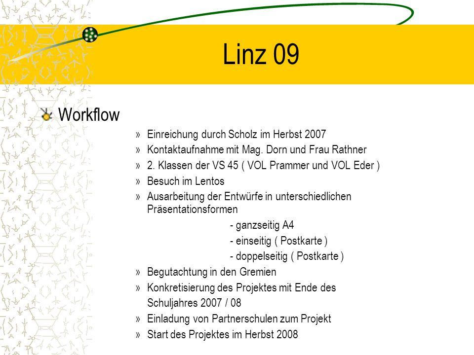 Linz 09 Workflow »Einreichung durch Scholz im Herbst 2007 »Kontaktaufnahme mit Mag. Dorn und Frau Rathner »2. Klassen der VS 45 ( VOL Prammer und VOL