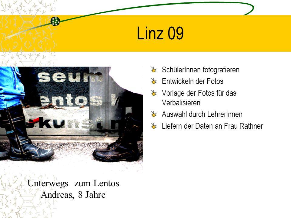 Linz 09 SchülerInnen fotografieren Entwickeln der Fotos Vorlage der Fotos für das Verbalisieren Auswahl durch LehrerInnen Liefern der Daten an Frau Ra