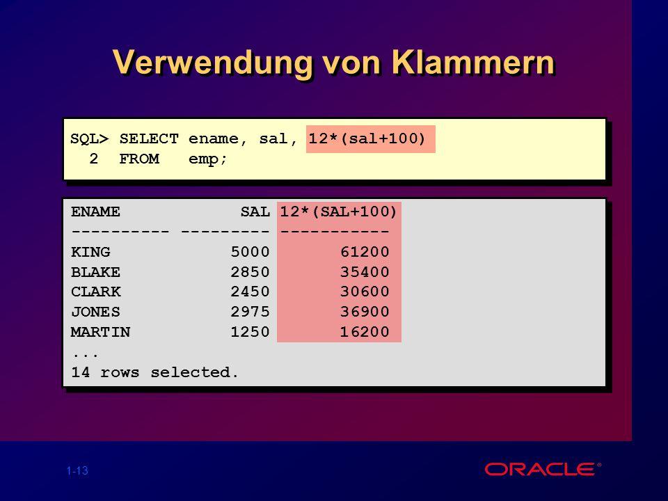 1-13 Verwendung von Klammern SQL> SELECT ename, sal, 12*(sal+100) 2 FROM emp; ENAME SAL 12*(SAL+100) ---------- --------- ----------- KING 5000 61200