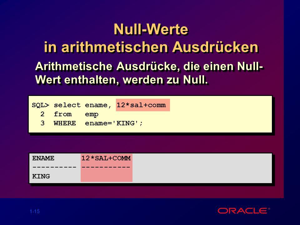 1-15 Null-Werte in arithmetischen Ausdrücken Arithmetische Ausdrücke, die einen Null- Wert enthalten, werden zu Null. SQL> select ename, 12*sal+comm 2