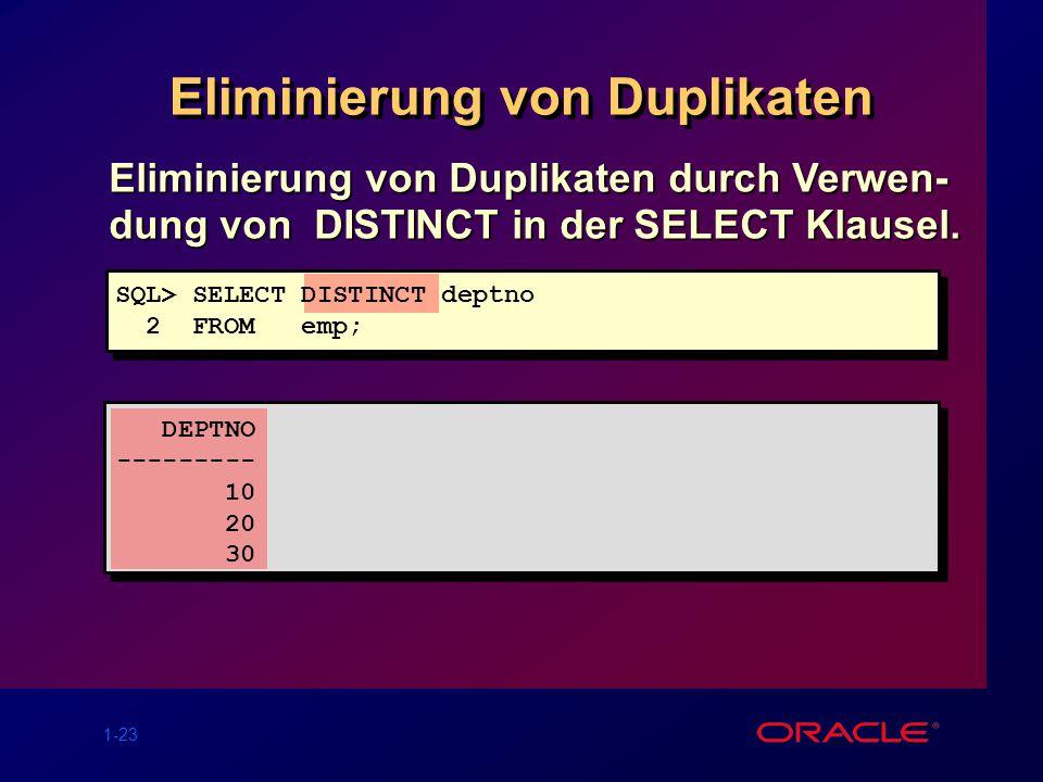 1-23 Eliminierung von Duplikaten Eliminierung von Duplikaten durch Verwen- dung von DISTINCT in der SELECT Klausel. SQL> SELECT DISTINCT deptno 2 FROM