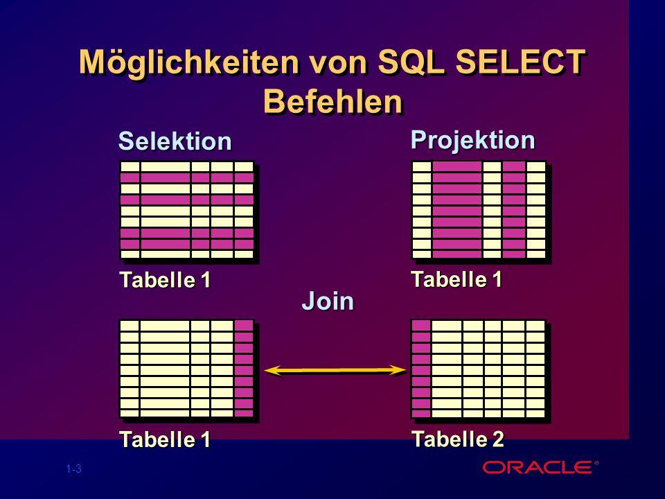 1-34 Übungen Lesen von Daten aus unterschiedlichen Tabellen Anzeige der Struktur von Tabellen Durchführung arithmetischer Berech- nungen und Festlegung von Spalten- namen Einsatz von SQL*Plus Lesen von Daten aus unterschiedlichen Tabellen Anzeige der Struktur von Tabellen Durchführung arithmetischer Berech- nungen und Festlegung von Spalten- namen Einsatz von SQL*Plus
