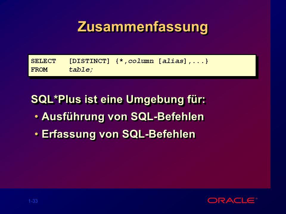 1-33 Zusammenfassung SQL*Plus ist eine Umgebung für: Ausführung von SQL-Befehlen Erfassung von SQL-Befehlen SQL*Plus ist eine Umgebung für: Ausführung von SQL-Befehlen Erfassung von SQL-Befehlen SELECT[DISTINCT] {*,column [alias],...} FROMtable; SELECT[DISTINCT] {*,column [alias],...} FROMtable;