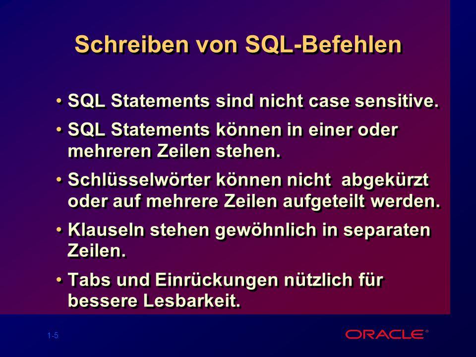 1-5 Schreiben von SQL-Befehlen SQL Statements sind nicht case sensitive. SQL Statements können in einer oder mehreren Zeilen stehen. Schlüsselwörter k