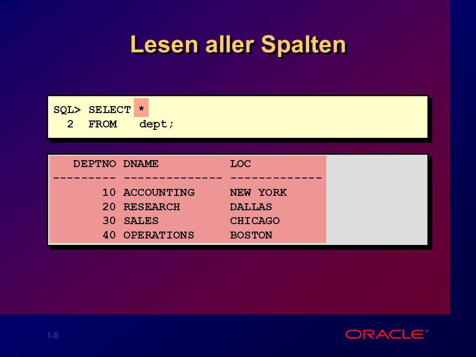 1-7 Lesen bestimmter Spalten DEPTNO LOC --------- ------------- 10 NEW YORK 20 DALLAS 30 CHICAGO 40 BOSTON SQL> SELECT deptno, loc 2 FROM dept;