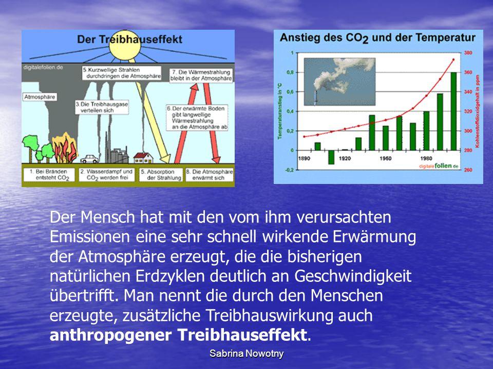 Sabrina Nowotny Der Mensch hat mit den vom ihm verursachten Emissionen eine sehr schnell wirkende Erwärmung der Atmosphäre erzeugt, die die bisherigen natürlichen Erdzyklen deutlich an Geschwindigkeit übertrifft.