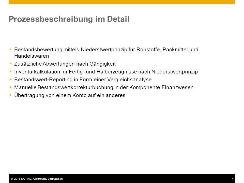 ©2013 SAP AG. Alle Rechte vorbehalten.4 Prozessbeschreibung im Detail  Bestandsbewertung mittels Niederstwertprinzip für Rohstoffe, Packmittel und Ha