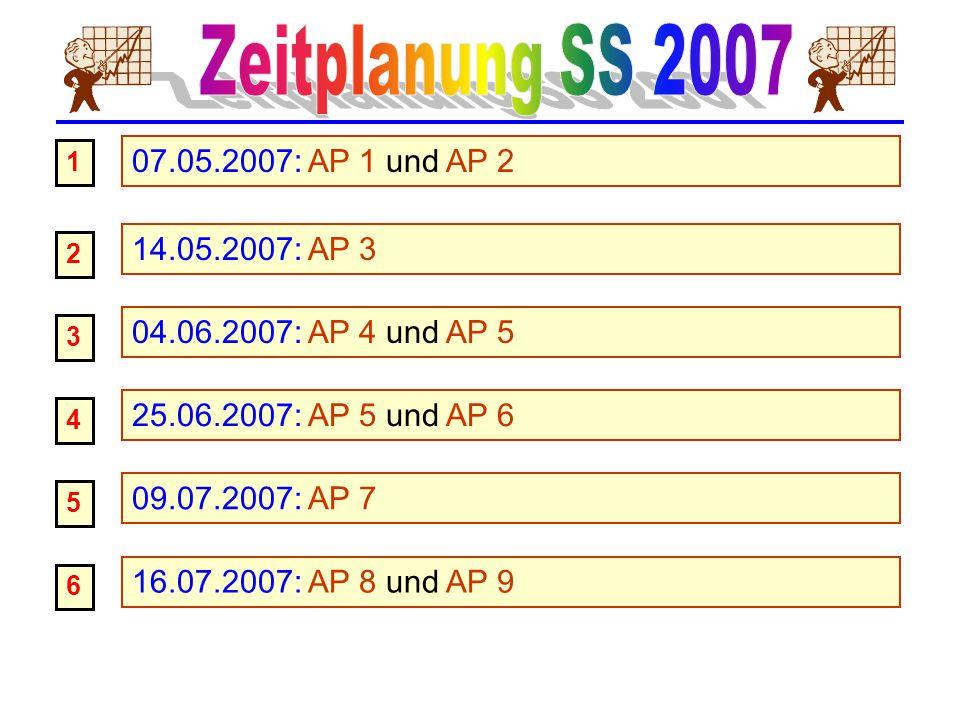 14.05.2007: AP 3 2 07.05.2007: AP 1 und AP 2 1 04.06.2007: AP 4 und AP 5 3 25.06.2007: AP 5 und AP 6 4 09.07.2007: AP 7 5 16.07.2007: AP 8 und AP 9 6