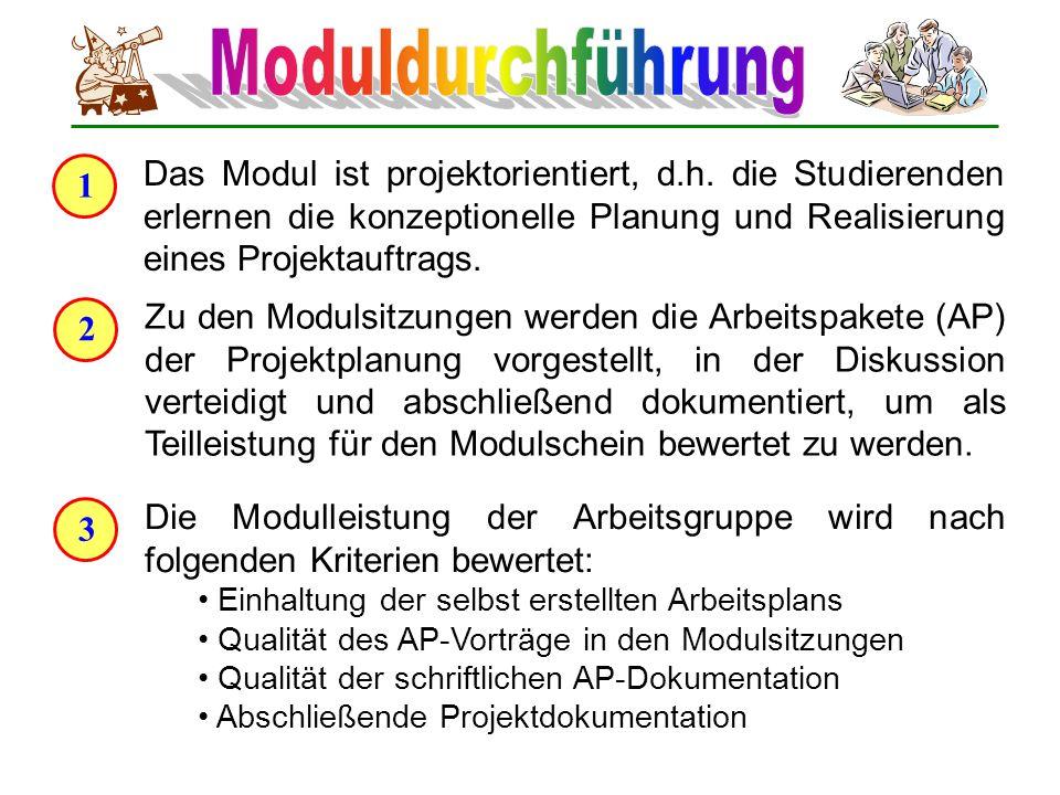 1 Das Modul ist projektorientiert, d.h. die Studierenden erlernen die konzeptionelle Planung und Realisierung eines Projektauftrags. 2 Zu den Modulsit