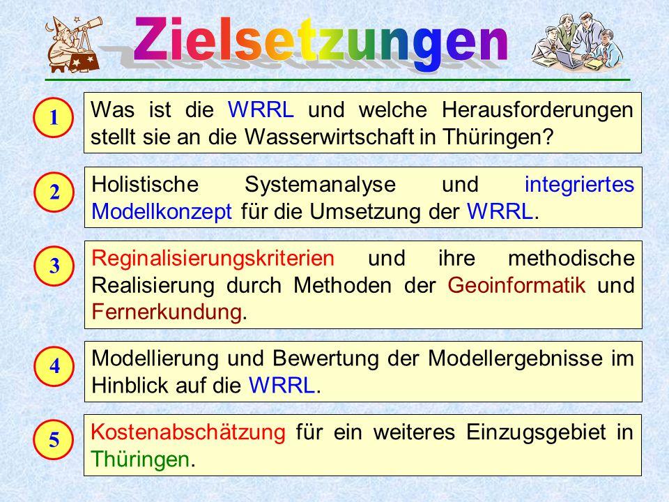 1 Was ist die WRRL und welche Herausforderungen stellt sie an die Wasserwirtschaft in Thüringen? 2 Holistische Systemanalyse und integriertes Modellko